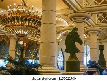 Las Vegas, Nevada/USA: May 11, 2018:  The interior lobby area of the Luxor Hotel and Casino