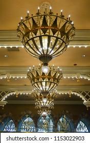 Las Vegas, Nevada/USA; May 11, 2018:  The interior lobby area of the Luxor Hotel and Casino