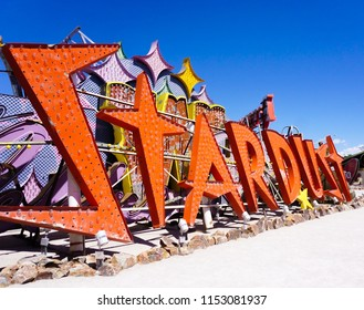 Las Vegas, Nevada/USA: May 12  2018- Stardust Vintage Casino Sign at the Neon Museum