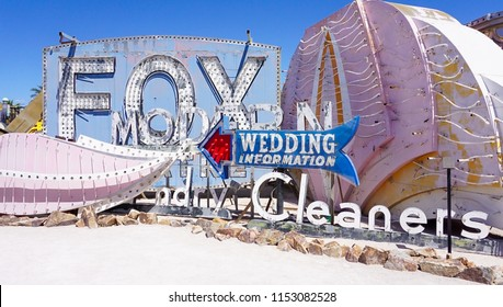 Las Vegas, Nevada/USA: May 12  2018-  Fox, Wedding Information and Cleaners Vintage Casino Signs at the Neon Museum