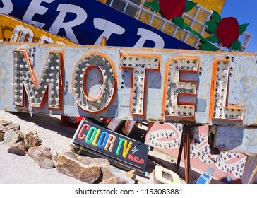 Las Vegas, Nevada/USA: May 12  2018- A Motel and Color TV RCA Vintage Casino Signs at the Neon Museum
