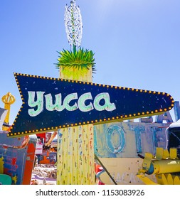Las Vegas, Nevada/USA: May 12  2018-  Yucca Vintage Casino Sign at the Neon Museum