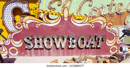 Las Vegas, Nevada/USA: May 12  2018- Showboat Vintage Casino Sign at the Neon Museum