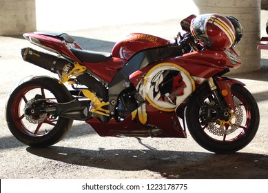 Las Vegas, Nevada/USA-August 6, 2011:Washington Redskins custom paint on a sports bike at the 34th annual black bikers roundup hosted by Las Vegas Motor speedway.