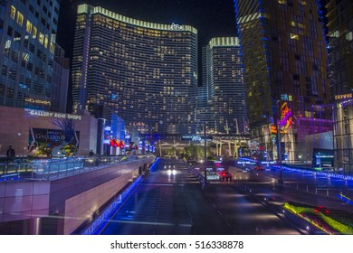 LAS VEGAS - NOV 08 : The Aria Resort and in Las Vegas on November 08 , 2016. The Aria is a luxury resort and casino opened on 2009 and is the world's largest hotel to receive LEED Gold certification