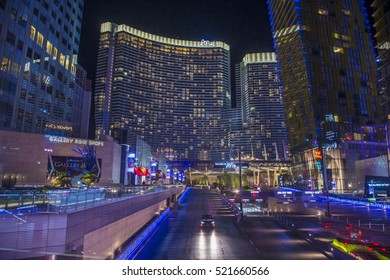 LAS VEGAS - NOV 08 : The Aria Resort in Las Vegas on November 08 , 2016. The Aria is a luxury resort and casino opened on 2009 and is the world's largest hotel to receive LEED Gold certification