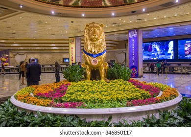 LAS VEGAS - NOV 17 : The interior of MGM hotel and casino in Las Vegas on November 17 , 2015. The MGM Grand is the third largest hotel in the world and the largest hotel resort complex in the USA