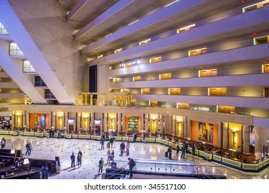 LAS VEGAS - NOV 17 : The Luxor hotel and casino interior on November 17 2015, The hotel located on the Las Vegas Strip, contains a total of 4,400 rooms in the interior walls of a pyramid style tower