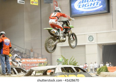 LAS VEGAS - NOV 21: Jamie Lanza competes during final round of the AMA Endurocross 2009 finals motorcycle race at The Orleans Casino Arena on November 21, 2009 in Las Vegas.