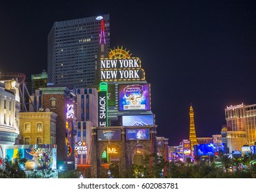 LAS VEGAS - NOV 24 : View of the strip in Las Vegas on November 24 2016. The Las Vegas Strip is an approximately 4.2-mile (6.8 km) stretch of Las Vegas Boulevard in Clark County, Nevada.