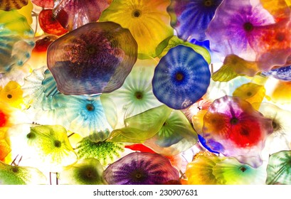 LAS VEGAS - NOV 8 : The Hand Blown Glass Flower Ceiling at the Bellagio Hotel on November 8, 2014 in Las Vegas. is comprised of 2,000 over glass blossoms by world-renowned glass sculptor Dale Chihuly.