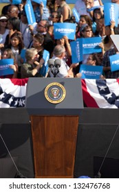 LAS VEGAS - NOVEMBER 01: Empty podium at President Obama`s Campaign Rally at Cheyenne Sports Complex on November 01, 2012 in North Las Vegas, Nevada