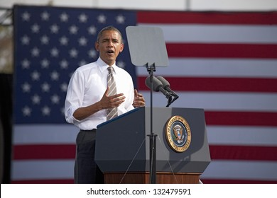 LAS VEGAS - NOVEMBER 01: President Barack Obama at a 2012 Election Campaign rally at Cheyenne Sports Complex on November 01, 2012 in North Las Vegas, Nevada