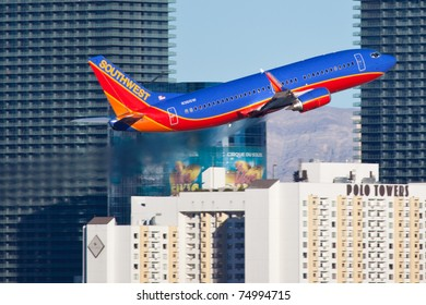 LAS VEGAS - NOVEMBER 14: Boeing 737 Southwest airline climbs after take off from Mccarran airport in Las Vegas, USA on November 14, 2010. Southwest is the largest airline in the United States as of 2011