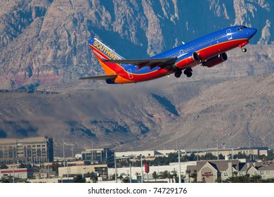 LAS VEGAS - NOVEMBER 14:Boeing 737 Southwest airline climbs after take off from Mccarran airport in Las Vegas, USA on November 14, 2010 Southwest is the largest airline in the United States as of 2011