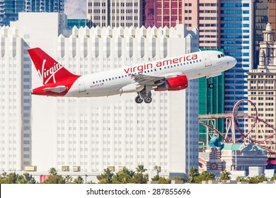 LAS VEGAS - NOVEMBER 3: Airbus A320 Virgin America takes off from McCarran Airport located in Las Vegas, NV on November 3, 2014. Virgin provides service between cities on the Eastern and West Coast.