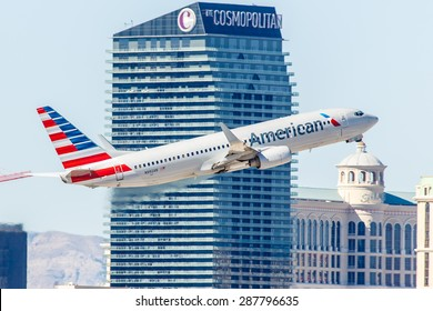 LAS VEGAS - NOVEMBER 3: Boeing 737 American Airlines takes off from McCarran Airport in Las Vegas, NV on November 3, 2014. American Airlines is one of the oldest airlines in United States.