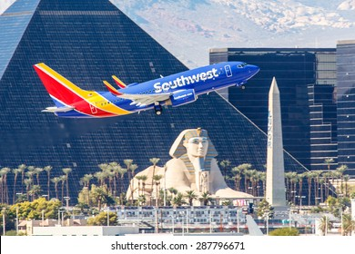 LAS VEGAS - NOVEMBER 3: Boeing 737 Southwest Airlines takes off from McCarran in Las Vegas, NV on November 3, 2014. Southwest is a major US airline and the world's largest low-cost carrier.