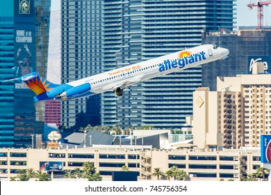 LAS VEGAS - NOVEMBER 3: McDonnell Douglas MD-80 Allegiant Air departs from McCarran Airport in Las Vegas, NV on November 3, 2014. Allegiant Air is a low-cost airline owned by Allegiant Travel Company.