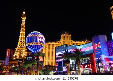LAS VEGAS - NOVEMBER 30: The Paris Las Vegas hotel and casino on November 30, 2011 in Las Vegas.  The Paris opened in 1999 and features a replica of the Eiffel Tower.