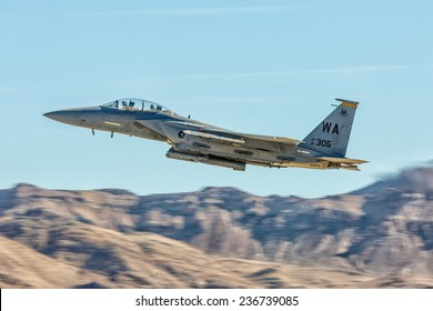 LAS VEGAS -NOVEMBER 8: F-15 Eagle performs air show routine during Aviation Nation at Nellis AFB on November 8,2014 in Las Vegas,NV. F-15 is a tactical fighter. It was designed by McDonnell Douglas.