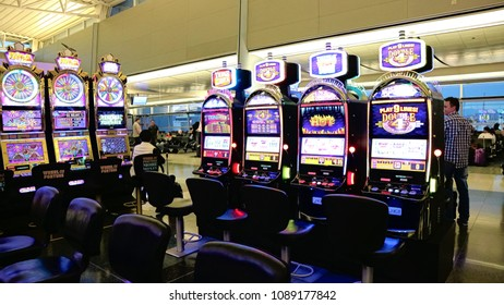 LAS VEGAS, NV - 07 OCT 2017 - McCarran International Airport (LAS), located south of the Las Vegas strip, is the main airport in Nevada. There are slot machines in the airport.