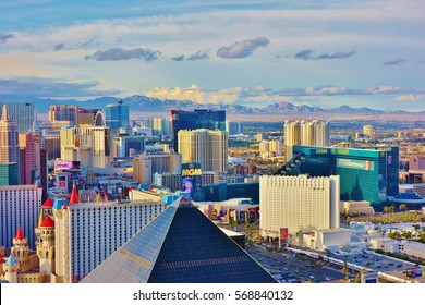 LAS VEGAS, NV -10 APR 2016- Landscape birds eye view of Las Vegas at sunset taken from the top of the Delano Las Vegas hotel with the Luxor pyramid in the foreground.
