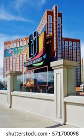 LAS VEGAS, NV -10 APR 2016- Located on the Strip in downtown Las Vegas, United States, the Treasure Island (TI) Hotel and Casino has a Caribbean pirate theme.