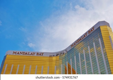 LAS VEGAS, NV -10 APR 2016-  The Mandalay Bay Resort and Casino, with its golden windows, is a luxury hotel and casino located on the southern end of the Strip in downtown Las Vegas.
