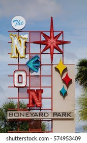 LAS VEGAS, NV -10 APR 2016- The Neon Boneyard Park is an outdoor museum displaying old retired signs from Las Vegas hotels and casinos.