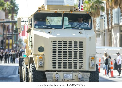 Las Vegas, NV 11/11/2019 — A US Army military truck with Nevada plates in the Veteran's Day Parade. Las Vegas hosts the second largest parade in the nation only after New York City.