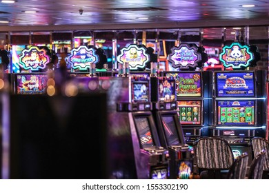 "Las Vegas, NV 11/1/2019 — Slot machines at the Binion's. The property reopened Feb. 2019 with the famous Apache Hotel that ""made poker famous."" It was also the first hotel in NV to have an elevator."
