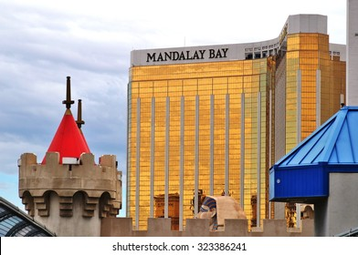 LAS VEGAS, NV -25 AUGUST 2013- The Mandalay Bay Resort and Casino, with its golden windows, is a luxury hotel and casino located on the southern end of the Strip in downtown Las Vegas.