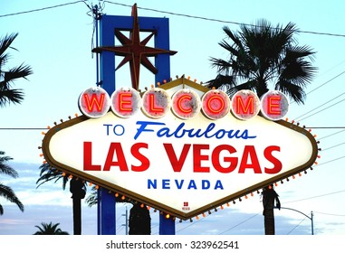 LAS VEGAS, NV -25 AUGUST 2013- The famous Welcome to Fabulous Las Vegas neon sign, erected in 1959, is placed at the southern end of the Las Vegas Strip in Paradise, Nevada, United States.