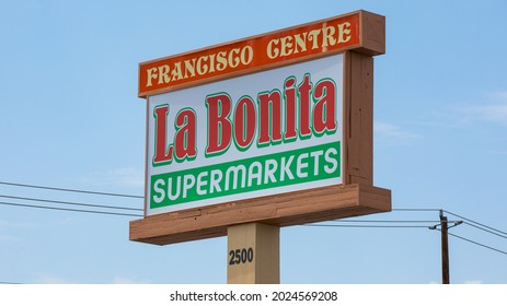 Las Vegas, NV 8-13-2021: Store sign of La Bonita Supermarkets location that collapsed early this morning. Located in Francisco Center at the 2500 block of E Desert Inn Rd. Intersection of Eastern Ave.