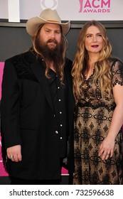 LAS VEGAS, NV - April 02, 2017: Chris Stapleton & Morgane Stapleton at the Academy of Country Music Awards 2017 at the T-Mobile Arena, Las Vegas