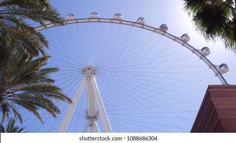 LAS VEGAS, NV - APRIL 10: High Roller exterior establishing shot on sunny day in Las Vegas, Nevada on April 10, 2018.