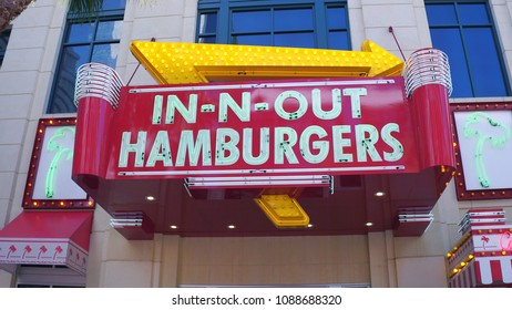 LAS VEGAS, NV - APRIL 10: In-n-out burger downtown in Las Vegas, Nevada on April 10, 2018.