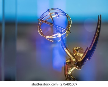 LAS VEGAS, NV - April 15: Emmy award on display at NAB Show 2015 exhibition in Las Vegas Convention Center. NAB Show is an annual trade show produced by the National Association of Broadcasters.