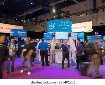 LAS VEGAS, NV - April 15: Intel at NAB Show 2015, an annual trade show by the National Association of Broadcasters.1726 exhibitors on 2000000 sq feet space of Las Vegas Convention Center, April 13-16