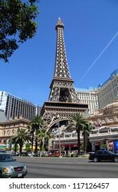 LAS VEGAS, NV - APRIL 22: Paris Las Vegas hotel and casino on April 22, 2011 in Las Vegas, Nevada, USA. It includes a half scale, 541-foot (165 m) tall replica of the Eiffel Tower
