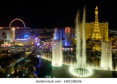 Las Vegas, NV - April 26th, 2018: The Fountains of Bellagio at night as seen from the top of the hotel