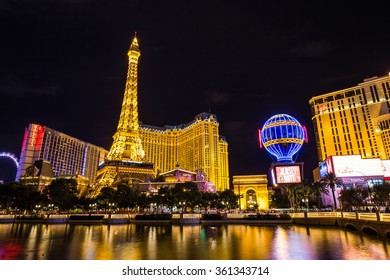 LAS VEGAS, NV - AUGUST 12: View of the Paris Las Vegas hotel and casino at night on August 11, 2015 in Las Vegas, USA. Located on the Las Vegas Strip, its theme is the city of Paris, France.