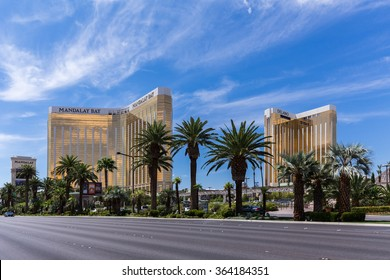 LAS VEGAS, NV - AUGUST 12: View of Mandalay Bay and Delano hotels and casinos on August 12, 2015 in Las Vegas, USA. Mandalay Bay and Delano are located on the famous Las Vegas Strip.