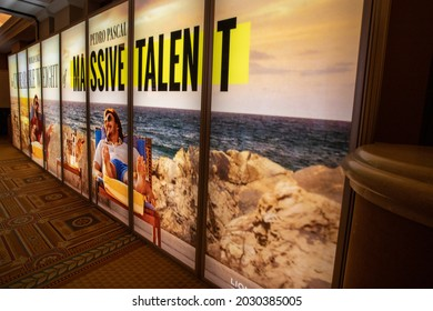 Las Vegas, NV - August 2021: Cinemacon 2021 The Unbearable Weight of Massive Talent show floor lightbox