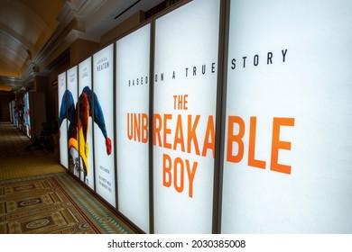 Las Vegas, NV - August 2021: Cinemacon 2021 The Unbreakable Boy show floor lightbox