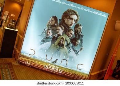 Las Vegas, NV - August 2021: Cinemacon 2021 Dune show floor lightbox.