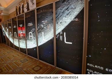 Las Vegas, NV - August 2021: Cinemacon 2021 show floor Moonfall lightbox.