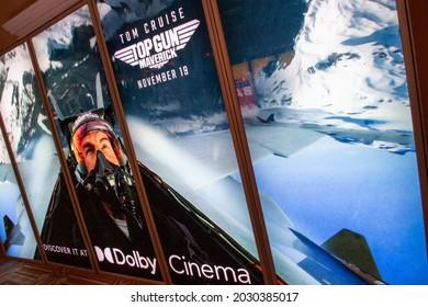 Las Vegas, NV - August 2021: Cinemacon 2021 show floor Top Gun: Maverick lightbox.
