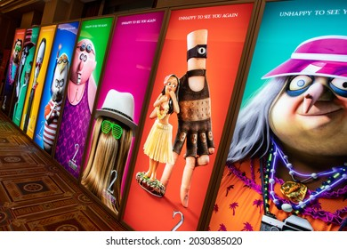 Las Vegas, NV - August 2021: Cinemacon 2021 Addams Family 2 show floor lightbox.